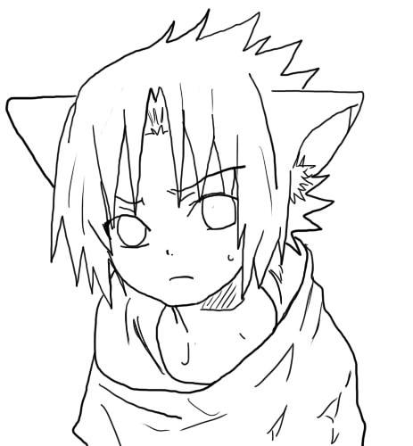 Lineart Anime Boy : Sasuke neko lineart by tsukinamealphard on deviantart
