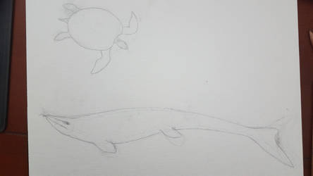 Archelon fending off mosasaur attack (on canvas) by Braindroppings1