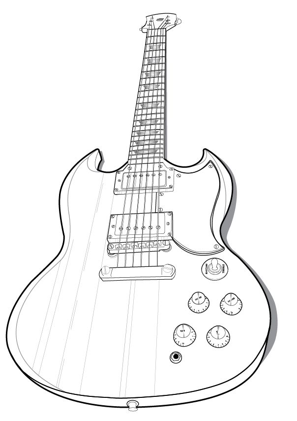 guitar vector outline by nicollemariemiller
