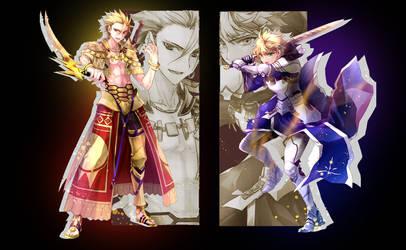 Fate/Prototype's Arthur and Gelgamesh by bnka