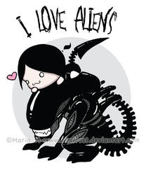 T-shirt Design - I Love Aliens by Rimfrost