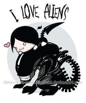 T-shirt Design - I Love Aliens
