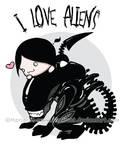 T-shirt Design - I Love Aliens by Rimfrost