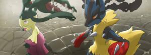 Pokemon: Mega Mawile and Mega Lucario by mark331