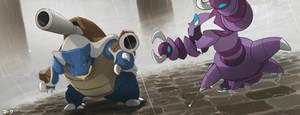 Pokemon: Mega Blastoise and Drapion by mark331