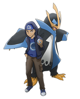 COMMISSION: Trainer with Empoleon by mark331
