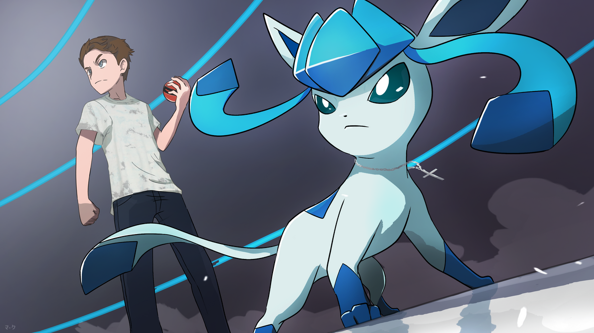 Commission: Trainer with Glaceon by mark331
