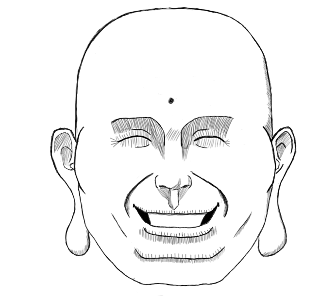 laughing face sketch
