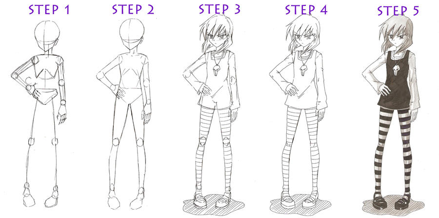 Basic full body girl tutorial by red jello04