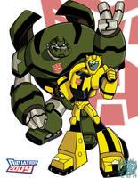 TFA Bumblebee and Bulkhead by ninjatron