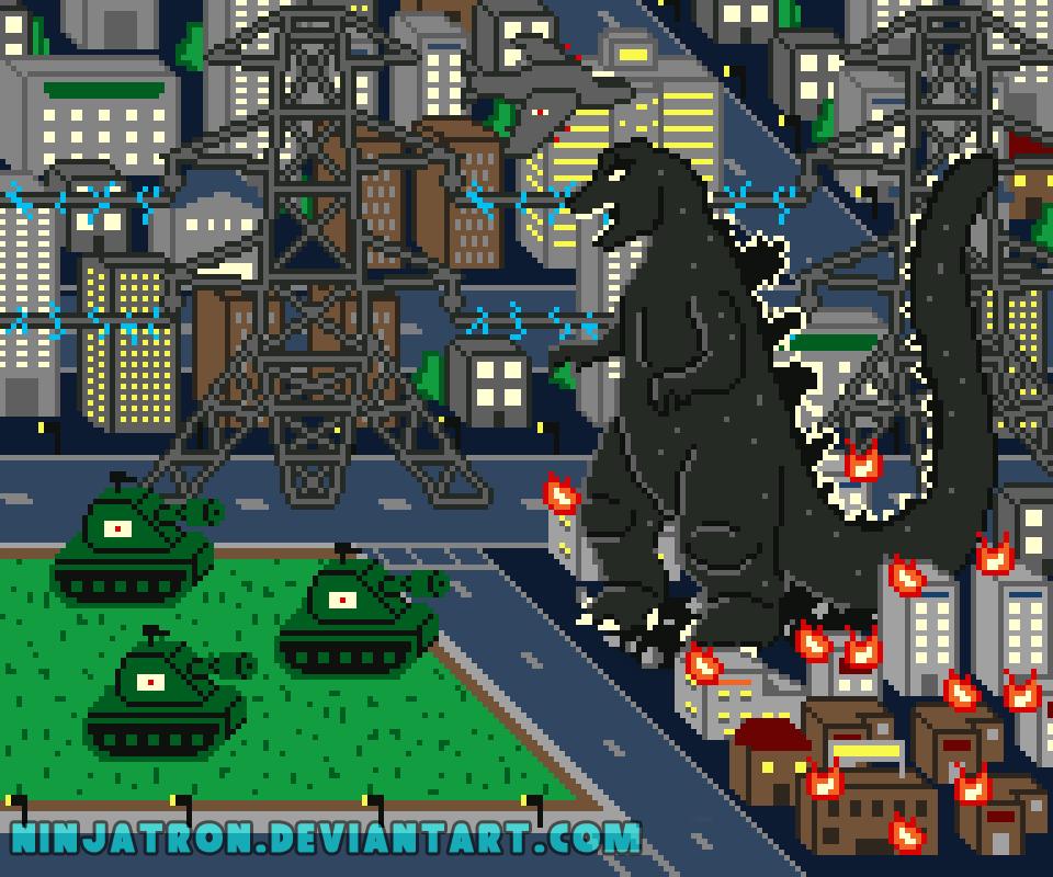 Godzilla Pixel Art Scene by ninjatron
