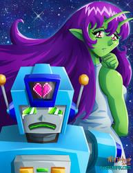 Robot Boy and Alien Girl by ninjatron