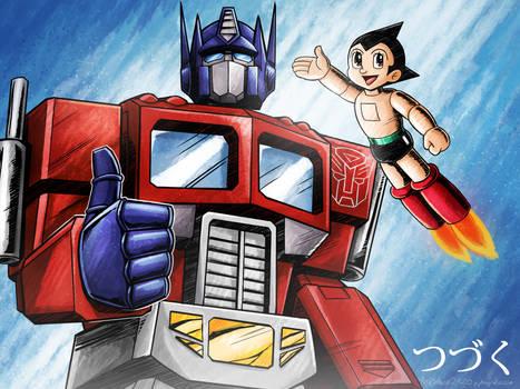 Optimus Prime and Astro Boy Postcard Memory