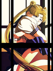 Usagi crying in the phone booth