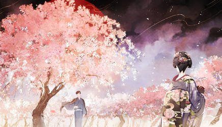 Thousand of cherry blossoms