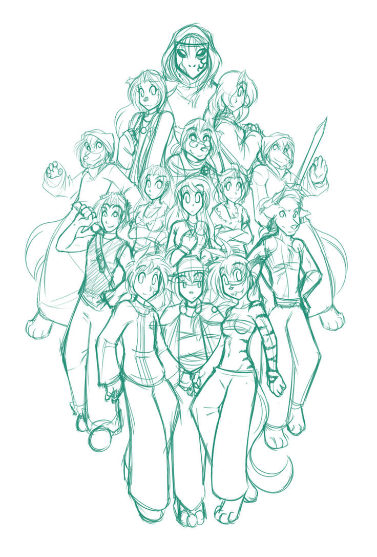 Book 1 + 2 Cast Poster Sketch by Twokinds