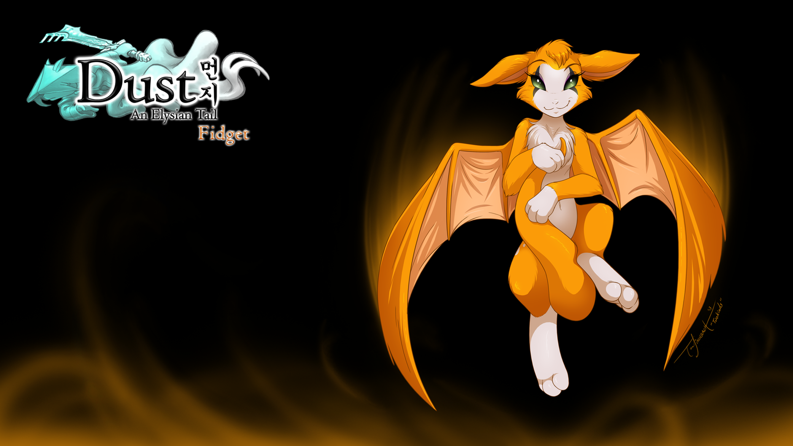 Dust: An Elysian Tail Fanart - Fidget Wallpaper by Twokinds