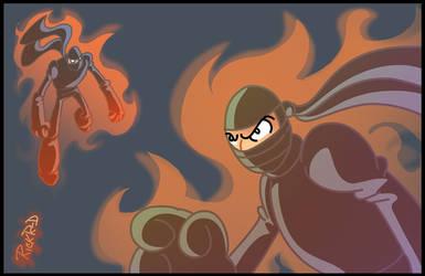 Some fiery ninjas by rickrd