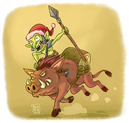 Cartoon Comic Fantasy Christmas Orc Riding War