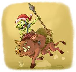 Cartoon Comic Fantasy Christmas Orc Riding War