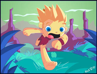CaveBoy running for his life.. by rickrd