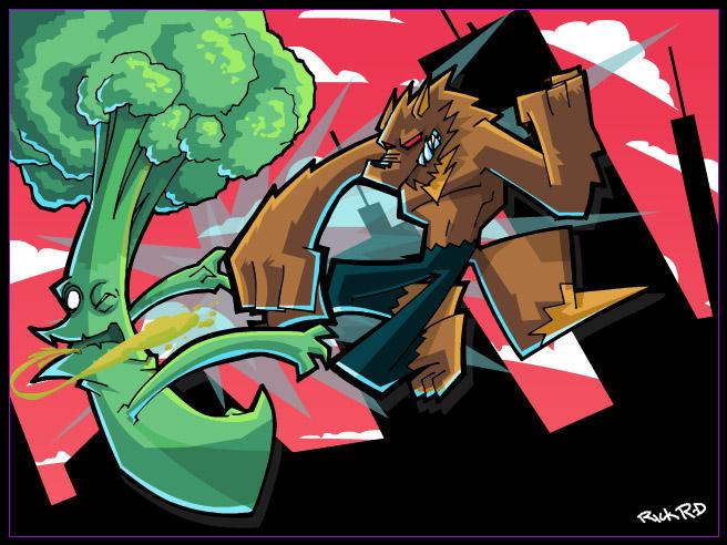 Werewolf VS Broccoli Monster by rickrd