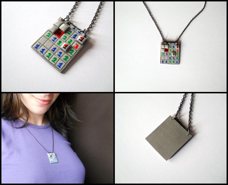 Minesweeper pendant by GemDeDude
