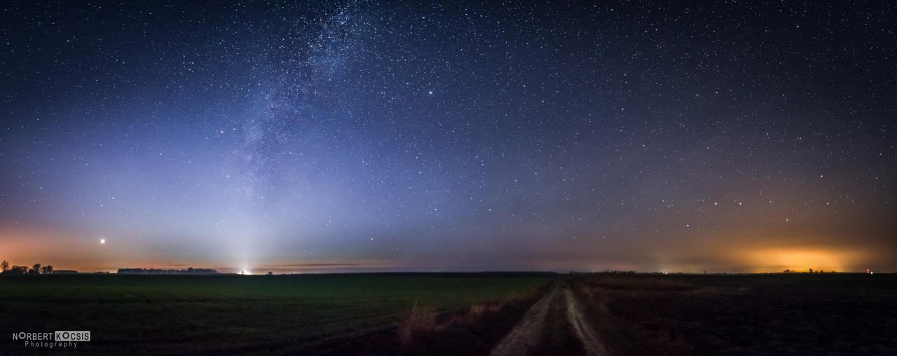 From road to road - Venus, Milky Way, Big Dipper by NorbertKocsis