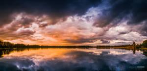 Sunset overcast with rain