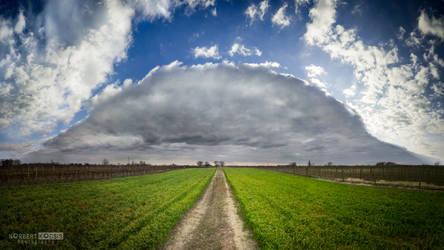 Sunshine from big cloud panorama