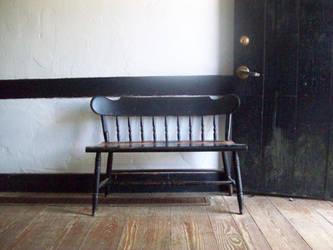 vintage bench in Batsto Village stock