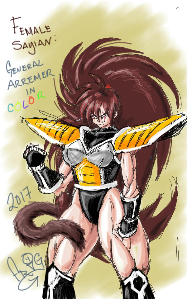 Female Sayian: General Arremer (digital colored) by ScketchtopiA