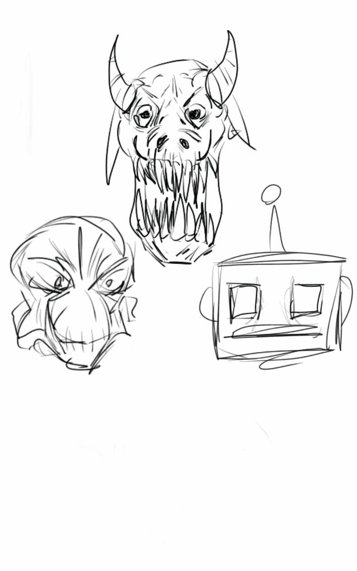 monster heads 1 by deadpoolfan93