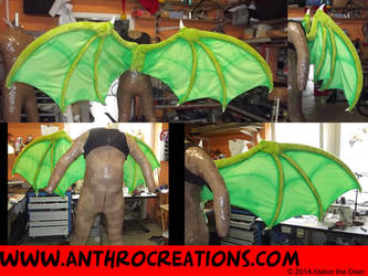 Dragon Wings Foldable Green with Airbrush by AtalontheDeer