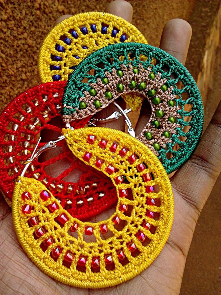 Bead Crochet Hoop Earrings by birschey on DeviantArt