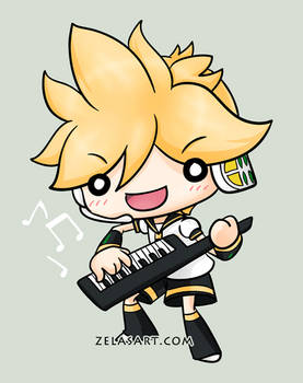 Chibi Len button commission