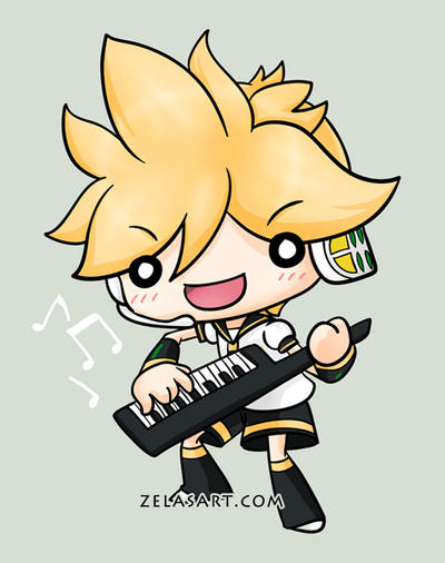 Chibi Len button commission by zelas