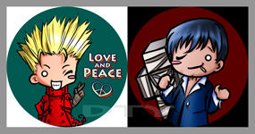 SD Buttons: Vash and Wolfwood