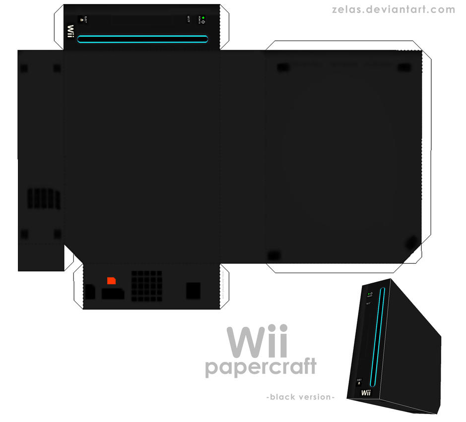 Simple black Wii - papercraft- by zelas