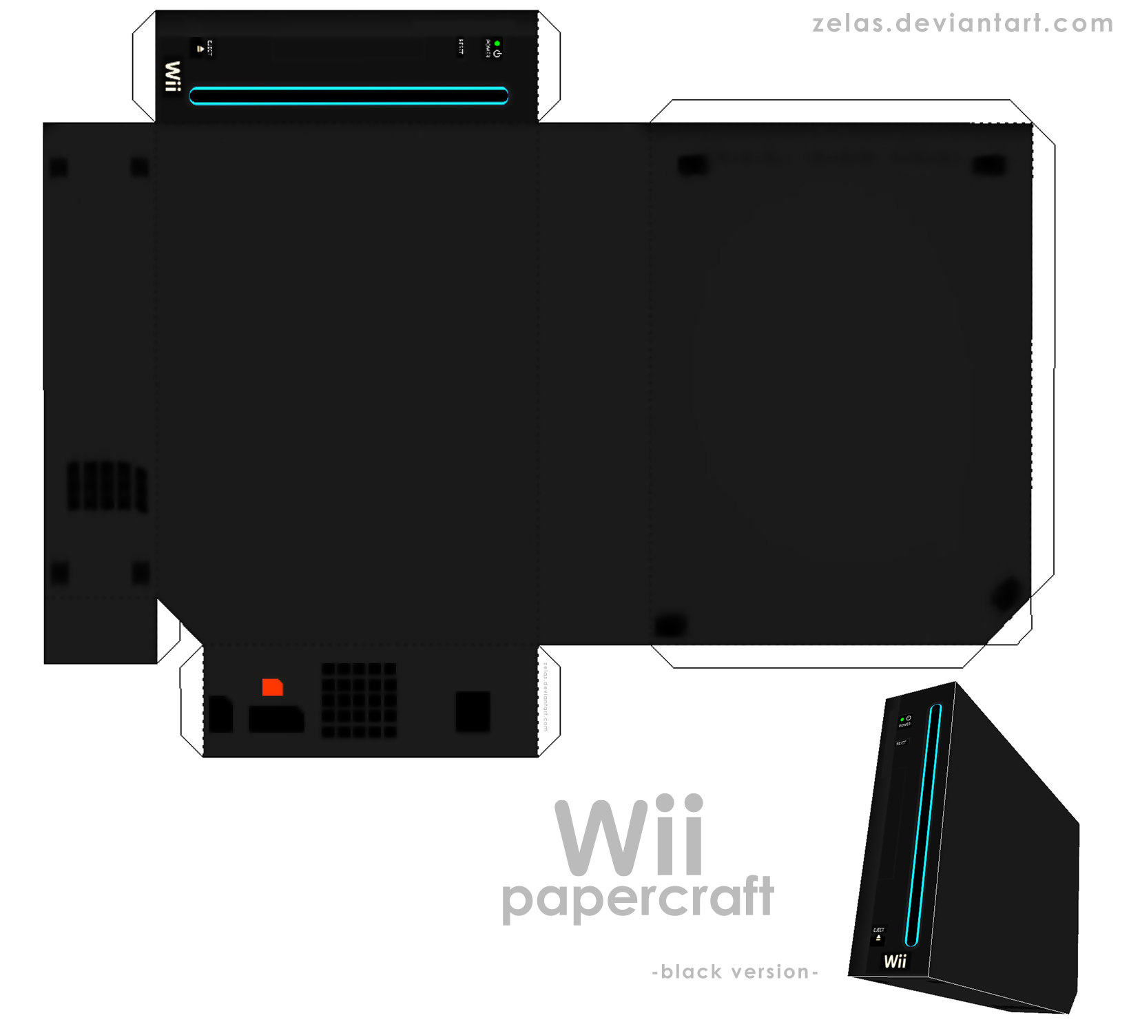 Simple black Wii - papercraft-