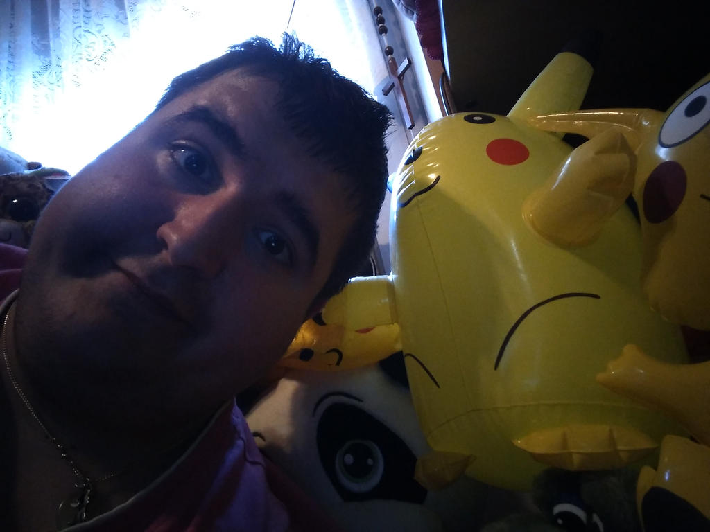 Me and My Inflatable Pikachu Toy 1 by PoKeMoNosterfanZG