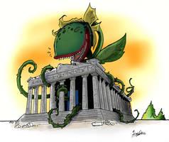 Audrey attacks Parthenon by JimSam-X