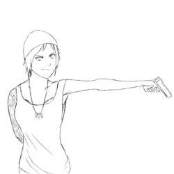 Chloe Found A Gun Sketch by RichardRiot