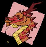 Stylized portrait of a sunset dragon