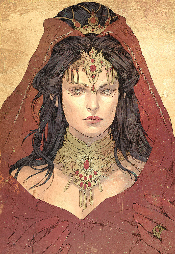 Morgana emerged through the mass of bodies, her gown a brilliant red, highlighted with gold, as clear a flag of her support for Clan Pendragon as if she had tattooed the dragon sigil upon her brow.  Instead, she wore a crown and matching collar of glittering jewels, a reminder to all and sundry that she was a Seer, and that her word was as sure and as true as if it were carved in stone.