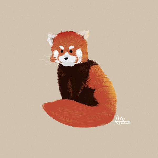 Panda Roux En Pixel