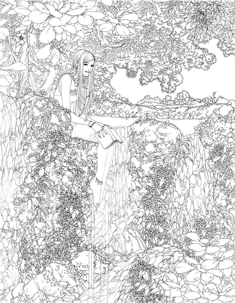 Waterfall lineart by wen m on deviantart for Waterfall coloring page