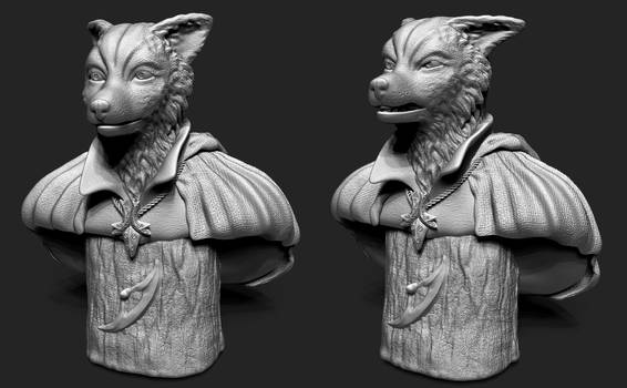 Fantasy Fox Bust update by MichaelEastwood