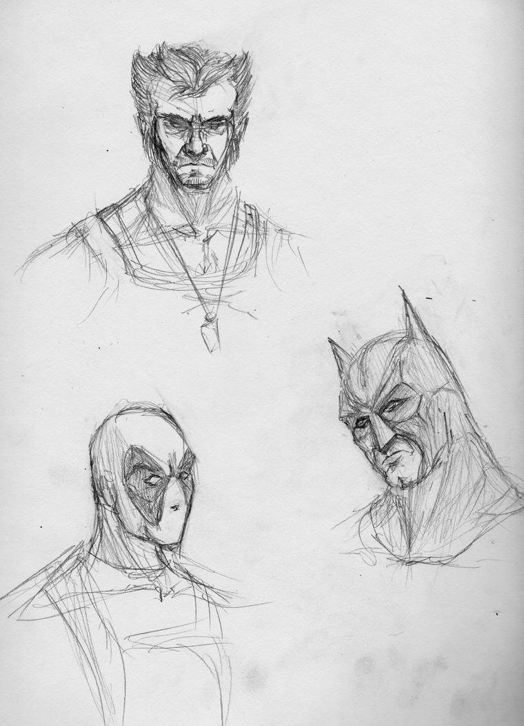 Superhero Sketches by qwertyempire on DeviantArt