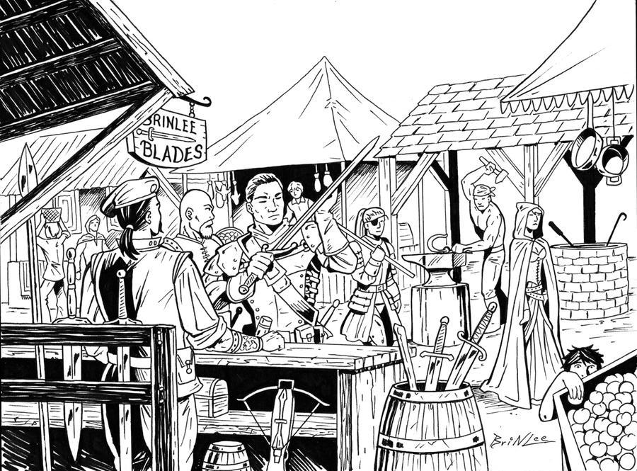 Line Art Village : Village market rpg piece by taman on deviantart